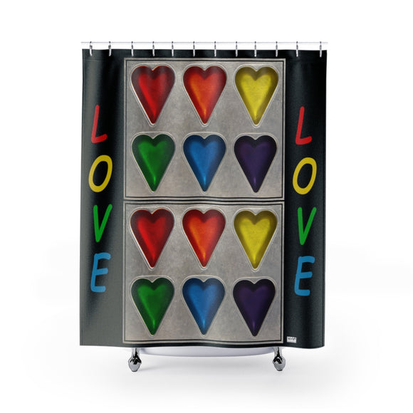 Rainbow Hearts Love Polyester Shower Curtain - sasyjamdesigns
