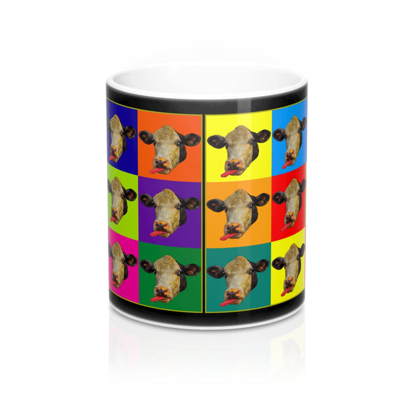 Checkerboard Cow Heads Ceramic Mug - sasyjamdesigns