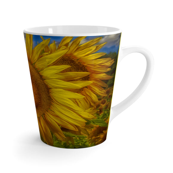 Sunflower Flame Ceramic Latte Mug - sasyjamdesigns