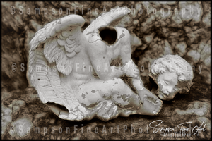 Broken Angel Statue Black and White Photograph - sasyjamdesigns