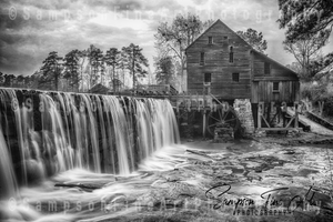 Yates Mill Waterfall Black and White Photograph - sasyjamdesigns