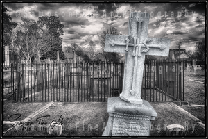 Gothic Cemetery Cross Black and White Photograph - sasyjamdesigns