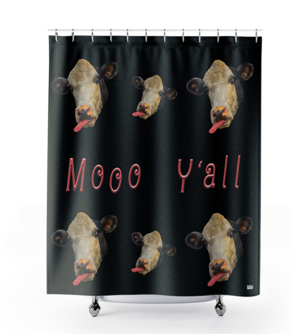 Moo Y'all Cow Head Polyester Shower Curtain - sasyjamdesigns
