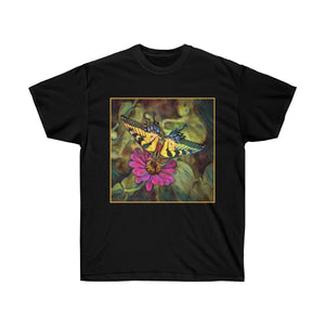 Pale Swallowtail Butterfly On Zinnia Flower Unisex Ultra Cotton T Shirt - sasyjamdesigns