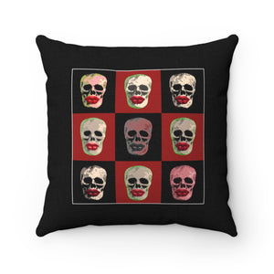 Skull and Lips Checkerboard Square Throw Pillow Black - sasyjamdesigns