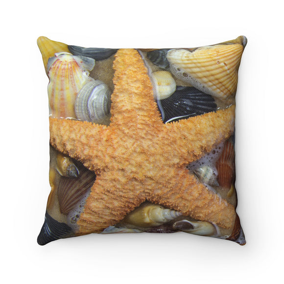 Sea Shell Polyester Square Throw Pillow - sasyjamdesigns