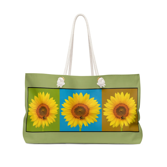 Three Sunflowers Weekender Tote Bag - sasyjamdesigns
