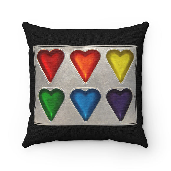 Rainbow Hearts Square Pillow - sasyjamdesigns