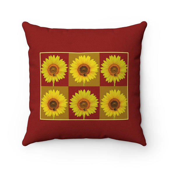 Sunflower Checkerboard Square Throw Pillow Red - sasyjamdesigns