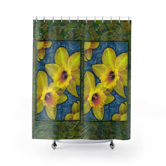 Painted Daffodil Polyester Shower Curtain Limited Edition Green - sasyjamdesigns