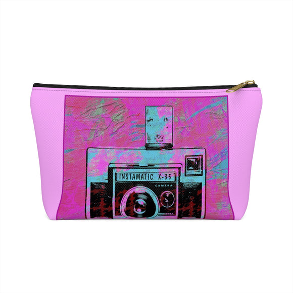 Vintage Camera T-bottom Accessory Pouch / Pink Makeup Bag - sasyjamdesigns