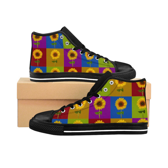 Sunflower Checkerboard Men's High-Top Sneaker - sasyjamdesigns