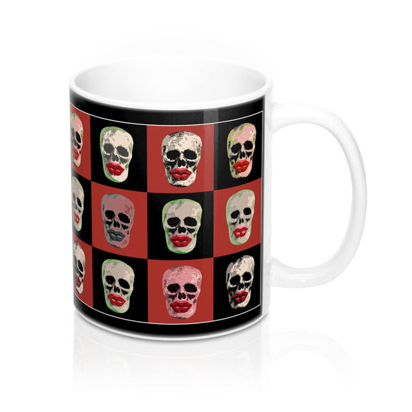 Skull and Lips Checkerboard Ceramic Mug - sasyjamdesigns