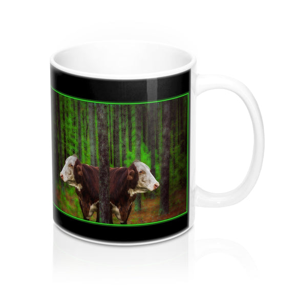 Cows in the Forest Ceramic Mug - sasyjamdesigns