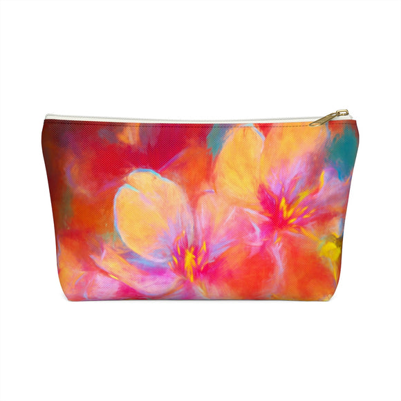 Cherry Blossoms T-bottom Accessory Pouch / Makeup Bag - sasyjamdesigns