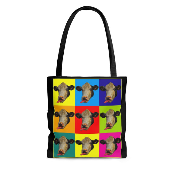 Checkerboard Cow Heads Tote Bag - sasyjamdesigns