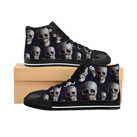 Skull Women's High-Top Nylon Canvas Sneakers HOT ITEM! - sasyjamdesigns