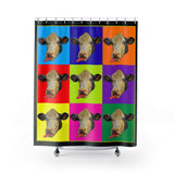 Checkerboard Cow Heads Polyester Shower Curtain - sasyjamdesigns