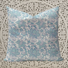 Load image into Gallery viewer, Hand Block Printed Cushion Cover - Aqua Lotus