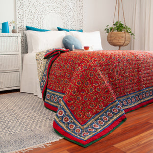 Hand Block Printed Quilt - Chakri Red