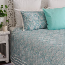 Load image into Gallery viewer, Hand Block Printed Quilted Bed Cover Set - Jade Flower
