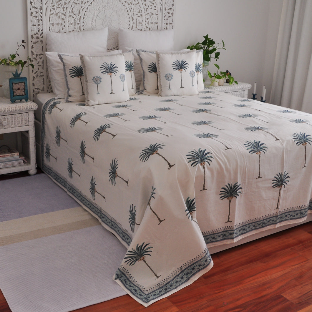 Hand Block Printed Bed Cover Set - Palm Tree Blue