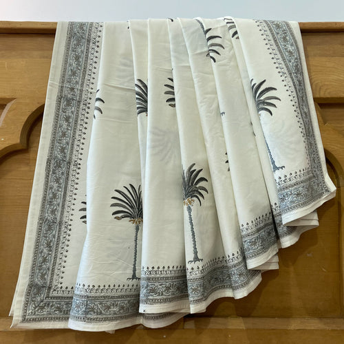 Hand block printed pure cotton bed cover set in palm tree grey design