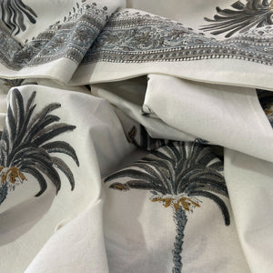 Hand Block Printed Bed Cover Set - Palm Tree Grey