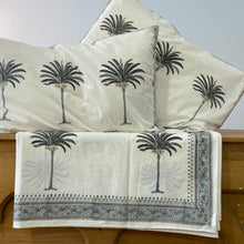 Load image into Gallery viewer, Hand Block Printed Bed Cover Set - Palm Tree Grey