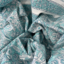 Load image into Gallery viewer, Hand Block Printed Bed Cover Set - Jade Flower