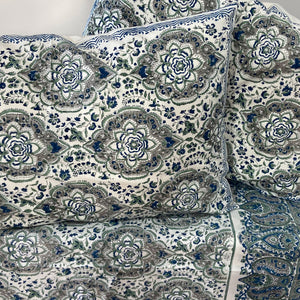 Hand Block Printed Bed Cover Set - Patti Blue