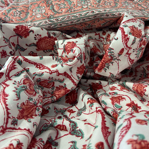 Hand Block Printed Bed Cover Set - Egyptian Patti Red