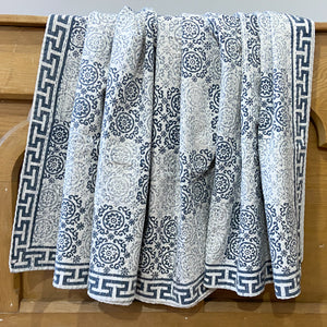 Hand Block Printed Kantha Quilt - Grey Patch