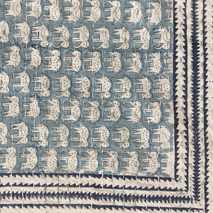 Hand Block Printed Kantha Quilt, Blue Elephant