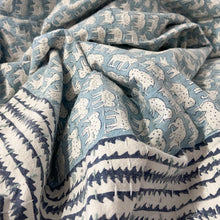 Load image into Gallery viewer, Hand Block Printed Kantha Quilt, Blue Elephant