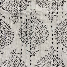 Load image into Gallery viewer, Hand Block Printed Kantha - Pan Leaf Smoky Grey
