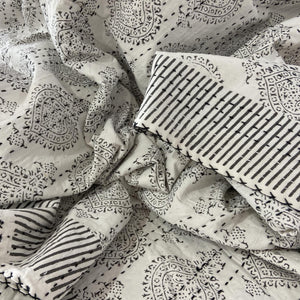 Hand Block Printed Kantha - Pan Leaf Smoky Grey