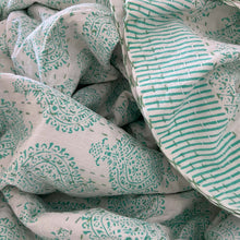 Load image into Gallery viewer, Hand Block Printed Kantha - Pan Leaf Aqua