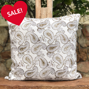 Heavy duty hand block printed cotton 60 x 60cm cushion cover with zip closure in a sage paisley design
