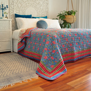 Hand Block Printed Quilt - Cornflower Blue