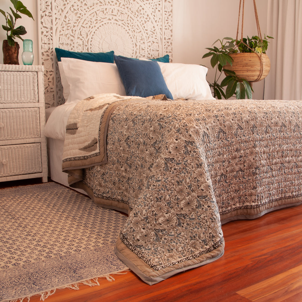 Hand Block Printed Quilt Set - Passion flower