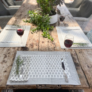 Hand Block Printed Placemats - Neem Grey - Set of 2