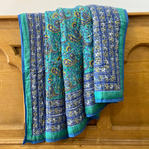 Paisley New Blue,pure cotton hand block printed soft cotton filled quilt. Fair trade and eco friendly for sustainable home decor