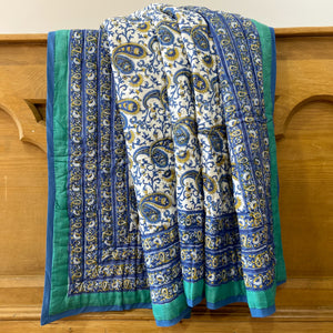 Hand Block Printed Quilt - Paisley New Blue