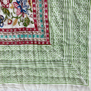 Hand Block Printed Quilt - Floral Canvas Jade