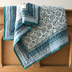 Hand Block Printed Quilt, handcrafted in pure cotton. Fair trade, colourful, sustainable, eco-friendly and ethical for unique decor. cot size