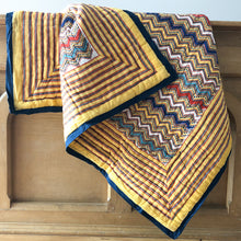 Load image into Gallery viewer, Hand Block Printed Quilt - Designer Chevron