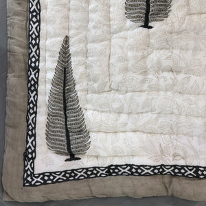 Hand Block Printed Quilt - Passion flower