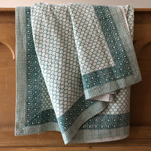 Load image into Gallery viewer, Teal Mermaid, Hand Block Printed Kantha Quilt handcrafted in pure cotton. Fair trade, colourful, sustainable, eco-friendly and ethical for unique decor.