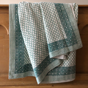 Teal Mermaid, Hand Block Printed Kantha Quilt handcrafted in pure cotton. Fair trade, colourful, sustainable, eco-friendly and ethical for unique decor.